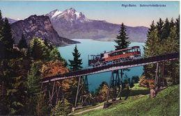 Vintage Railway Postcard Rigi-Bahn Schnurtobelbrucke Switzerland Rack Mountain - Trains