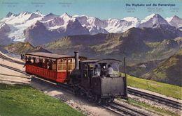 Vintage Railway Postcard Rigi-Bahn Und De Berneralpen Switzerland Rack Mountain - Trains