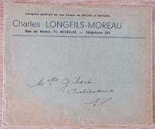 NIVELLES : Enveloppe Charles Longfils - Moreau - Décors Tentures ... - Autres Collections