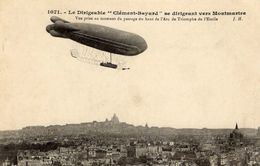 Le Dirigeable 'Clement-Bayard' Se Dirigeant Vers Montmartre  -  CPA - Dirigeables