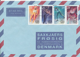 USA Air Mail Cover Sent To Denmark Saint Loius 14-3-1994 Winter Olympic Games Stams In 4 Strip - 3c. 1961-... Covers