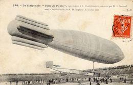 Le Dirigeable 'Ville-De-Paris' Appartenant à Henri Deutsch, Construit Par M.E.Surcouf  -  CPA - Zeppeline