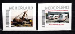 Train, Eisenbahn, Locomotive, Railway: Nederland 2016  : Hijskraan Met Trein + 3 X Treinen In Loods, Zelfklevend - Treinen