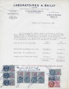 """Vieux Papiers  """"reçu"""" D'indemnités 1953 Avec 10 Fiscaux Laboratoires Pharmaceutiques A. BAILLY 19 Rue Du Rocher PARIS - Francia"""