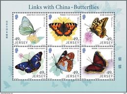 Jersey 2017 Sheet  6 V MNH Links With China: Butterflies Papillions Butterfly Papillion - Farfalle