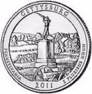 USA EEUU 25 CENTS. QUARTER DOLLAR GETTYSBURG  2011  P    UNC - PAS CIRCULÉE  - SC - EDICIONES FEDERALES