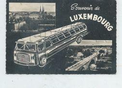 Luxembourg (Luxembourg) : 2 Vues Et Illustration D'un Car Touristique En 1950 (animé) GF. - Luxemburg - Stad