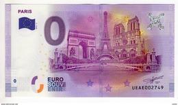 2016-2 BILLET TOURISTIQUE 0 EURO SOUVENIR  N° UEAE003947 PARIS - EURO