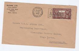 1950 IRELAND COVER SLOGAN Pmk FLY AER LINGUS IRISH AIR LINES From McCann Ltd Dublin To GB Stamps Aviation - 1949-... Republic Of Ireland