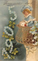 ILLUSTRATEUR  ENFANT AU BALCON  FANTAISIE  CARTE GAUFREE  BONNE ANNEE  MILLESIME 1905 - Illustrateurs & Photographes