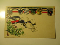 GERMANY MILITARY FLAG AND COATS OF ARMS , IN TREUE FEST GOTT MIT UNS  , OLD POSTCARD , KO - Patriottisch
