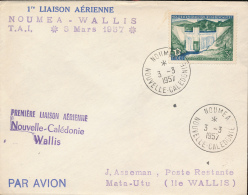 NOUVELLE CALEDONIE PREMIER VOL NOUMEA WALLIS 03.03.1957 - Luftpost