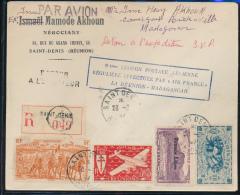 REUNION PREMIER VOL ANNIVERSAIRE 100e LIAISON  LA REUNION MADAGASCAR RECOMMANDE DE SAINT DENIS 28.03.47 - Luftpost