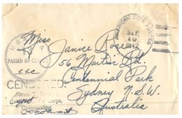 (650) Military Mail - WWII Era - Cover Posted  From USA To Australia - Censored (American Base Forces) - Militaria