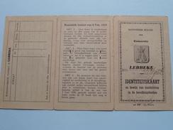 LEBBEKE (1946) Identiteitskaart Koninkrijk België Carte Identité De La Belgique ( Philips 3 Aug 1922 / Zie Foto´s ) ! - Non Classés
