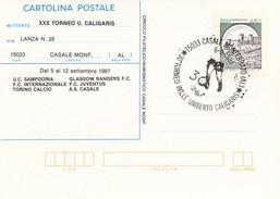 """8590-ANNULLO """"30° TORNEO INT.LE UMBERTO CALIGARIS-CASALE MONFERRATO""""-1987  SU INTERO POSTALE - Stamped Stationery"""
