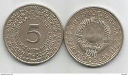 Yugoslavia 5 Dinara 1975.  XF  KM#60 30th Anniversary Of Nazy Defeat (Copper-Nickel-Zinc) - Yugoslavia