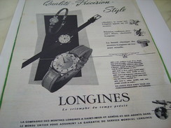 ANCIENNE PUBLICITE MONTRE LONGINES QUALITE 1955 - Bijoux & Horlogerie