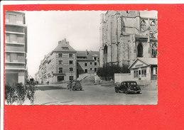14 LISIEUX Cpsm Petite Animation Rue Au Char Et Eglise St Jacques Incendiée En 1944              7 Bis Edit GALF - Lisieux