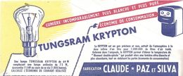 Buvard TUNGSRAM KRYPTON -Claude -Paz Et Silva - Electricité & Gaz