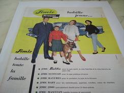 ANCIENNE PUBLICITE TISSUS JIMIE TERGAL HABILLE JEUNE 1957 - Vintage Clothes & Linen