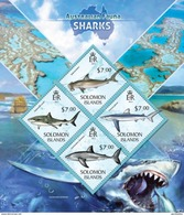 SOLOMON ISLANDS 2013 SHEET SHARKS TIBURONES HAIEN SQUALI TUBAROES REQUINS MARINE LIFE Slm13419a - Isole Salomone (1978-...)