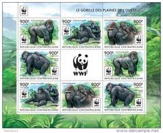 Central African Republic. 2015 WWF – Gorilla (Klb Of 2 Sets). (225c) - Gorilles