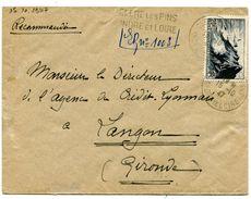 INDRE ET LOIRE De CLERE LES PINS  Env. Recommandée Provisoire   Du 15/10/1947 - Postmark Collection (Covers)