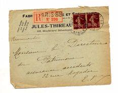 Devant De Lettre Recommandee Paris 88 Sur Semeuse - Marcophilie (Lettres)