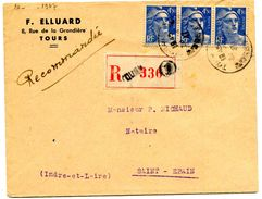 INDRE ET LOIRE De TOURS   Env. Recommandée  De 1947 - Marcophilie (Lettres)