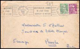 2892 France N° 809/811 Gandon Toulouse Gare 5/5/1950 Krag Les écoles De L'armée De L'air Lettre (cover) Lamaluc - Poststempel (Briefe)