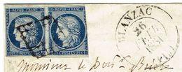 CHARENTE 16 BLANZAC LSC TAD 13 Du 26/02/1851 Grille Sur Une Paire De N° 4 (1 Timbre Touché) Pièce Rare Ind24 TTB - Marcophilie (Lettres)