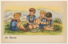 """Illustrateur : J. Idrac - Thème Scouts Scoutisme """" La Soupe """"  / Illustrations Enfants - Illustratoren & Fotografen"""