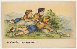 """Illustrateur : J. Idrac - Thème Scouts Scoutisme """" A L'affût ... Sur Une Piste """"  / Illustrations Scènes Enfants - Illustratoren & Fotografen"""