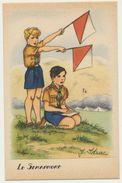"""Illustrateur : J. Idrac - Thème Scouts Scoutisme """" Le Sémaphore """"  / Illustrations Scènes Enfants - Illustratoren & Fotografen"""