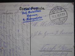 POSTKAART UIT LEUVEN VERZONDEN MONS 13-2-15>NEUFS A /RHEIN LANDSTURM/INF.BATAILLON/BORNEM/4 KOMPAGNIE - Weltkrieg 1914-18