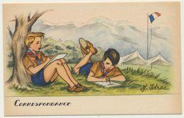 """Illustrateur : J. Idrac - Thème Scouts Scoutisme """" Correspondance """"  / Illustrations Scènes Enfants - écriture - Illustratoren & Fotografen"""