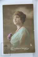Old 1920´s Real Photo Postcard - Romantic Topic Postcard - Beautiful Lady Portrait - Postales