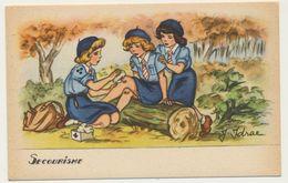 """Illustrateur : J. Idrac - Thème Scouts Scoutisme """" Secourisme  """"  / Illustrations Scènes Enfants - Secours Soins - Illustratoren & Fotografen"""