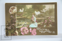Old 1920´s Real Photo Postcard - Romantic Topic Postcard - Lady With Birds And Flowers - Postales