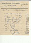 Facture  De ( Fromagerie Nouvelle ( L  LE  MOUELLIC A LORIENT  56  Adressé A Mme EUZENAT EN 1963 - Alimentare