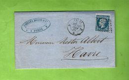 1860 TIMBRE EMPIRE OBLITERATION PARIS CAILLET DONOP Pour NESTOR ALBERT ARMATEUR  LE HAVRE VOIR SCANS - 1849-1876: Période Classique