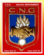 SUPER PIN´S GENDARMERIE : C.N.G. Mutuelle, CAISSE NATIONALE De La GENDARMERIE En Zamac Base Or, Mains 3D - Militaria