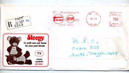 Lettre Recommandee Flamme Ema Piney Jeu Mercier Tieno  Illustré Ours Sleepy - EMA (Empreintes Machines à Affranchir)