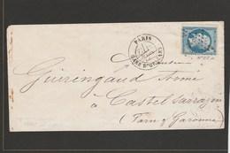LSC - Seine - Paris - Etoile 33 - Gare D'Orléans Sur N°22 - 1866 - Marcophilie (Lettres)