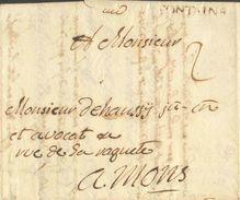 LAC De FONTAINE  (griffe Brune) Du 4 Décembre 1789 Vers Mons; Port '2' (encre) - 12202 - 1789-1790 (Brabant Revolution)