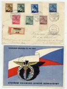 CZECHOSLOVAKIA 1945 Registered Postcard With Prague Issue Definitives And Special Postmark Of Chocerady. - Czechoslovakia