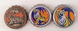 03 Different Vietnam Viet Nam Tiger Beer Used Crown Caps / Cap / Kronkorken / Capsule / Chapa / Tappi - Capsules & Plaques De Muselet