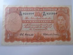 DEL001.8   AUSTRALIA - 10 Shillings - Nd (1952) - P 25.d - Sign.H.C.Coombs And Roland Wilson - George VI -Commonwealth - Pre-decimal Government Issues 1913-1965
