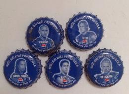Full Set Of 05 Different Vietnam Viet Nam PEPSI Footballers Used Crown Cap / Kronkorken / Capsule / Chapa / Tappi - Soda